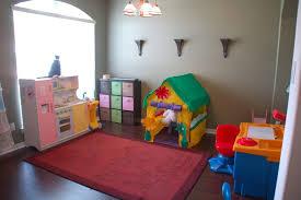 kitchen room chic kids playroom decor with dark brown wood deck