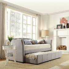 Pull Out Daybed Paige Daybed With Pullout Trundle Gray Linen Twin Homelegance