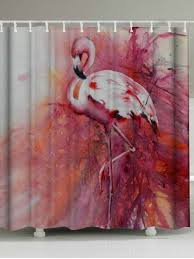 Flamingo Shower Curtains Pink W71 Inch L79 Inch Waterproof Flamingo Shower Curtain With