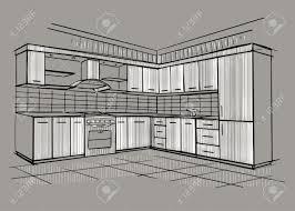 Kitchen Design Sketch Modern Interior Sketch Of Corner Kitchen Design House