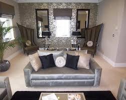 livingroom lounge photo of designer grey silver metallic living room lounge with