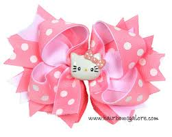 hair bows pink hello novelty hair bow