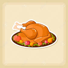roasted chicken or turkey ready for thanksgiving vector icon