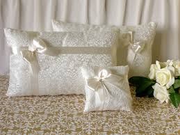 wedding kneeling pillows set of ivory or white wedding kneeling pillows and a matching ring
