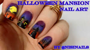halloween nail art tutorial haunted mansion youtube