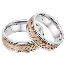 braided band 14k tri color gold braided wedding band set