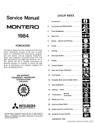 mitsubishi montero 1984 1 g workshop manual