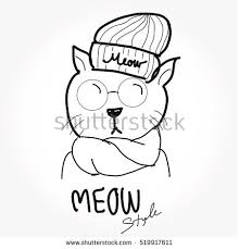 free hipster cat vector illustration download free vector art
