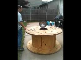 Wooden Spool Table For Sale Cable Reel Grill Station Youtube