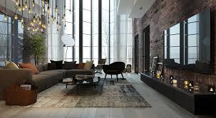 living room white table gray sofa black rug chandeliers luxury
