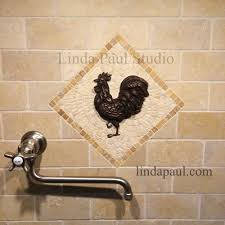 rooster tile medallions kitchen backsplashes with rooster art
