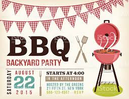 retro bbq invitation template with checkered flags stock vector