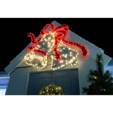 113 cm large bells led lights and tinsel silhouette outdoor