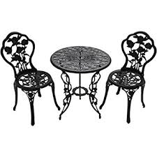 Cast Iron Bistro Table And Chairs Amazon Com Patio Furniture Outdoor Garden Rose 3 Piece Bistro Set
