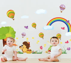 compare prices on tiles size online shopping buy low price tiles removable vinyl large size rainbow cartoon wall stickers for kids room decorations cartoon decals wall art