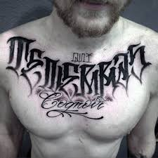 unique dark lettering tattoo male chest calligraphy pinterest