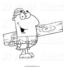 clip art of a black and white happy male carpenter with wood by