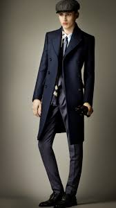 burberry prorsum wool felt tailored coat in blue for men lyst