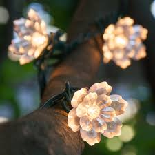 String Of Flower Lights by Novelty Lights Two Layer Crystal Lily Flower Lights On Green Wire