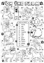 animals worksheets kindergarten