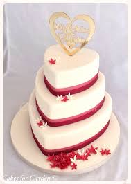 Ivory U0026 Burgundy Heart Shape Wedding Cake With Scattered Flowers
