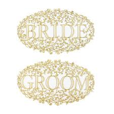 Bride And Groom Chair Signs Bride And Groom Wood Veneer Floral Chair Signs U2013 Alexis Mattox Design