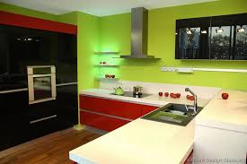 Kitchen Cabinets Green A Contemporary Kitchen With Red U0026 Black Cabinets Green Walls