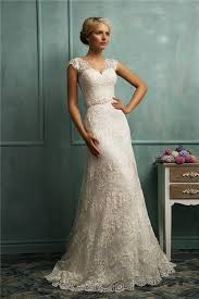 lace wedding dresses vintage fitted a line cap sleeve illusion back vintage lace wedding dress