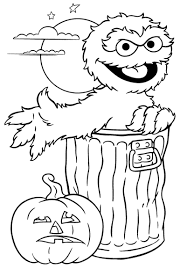 print oscar sesame street halloween coloring pages or download