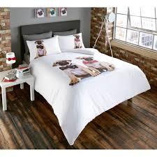 Dog Duvet Covers Cute Pug Dog Duvet Quilt Cover Multi Coloured Bedding Bed Set