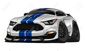 American Muscle Cars - modern american muscle car cartoon illustration royalty free