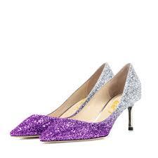 wedding shoes kitten heel women s purple and silver gradient color bridal heels kitten heels