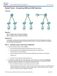 1 2 1 7 packet tracer comparing 2960 and 3560 switches