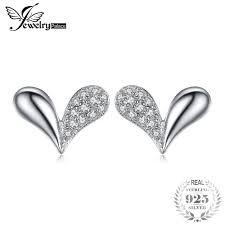 in earrings jewelrypalace heart charm cubic zirconia stud earrings 925 sterling