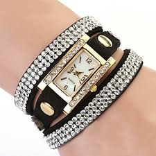 weave wrap bracelet images Women 39 s vintage square dial rhinestone weave wrap leather bracelet jpg