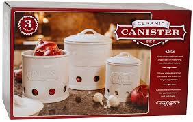 Red Canisters For Kitchen Amazon Com Ceramic Canister Set Of 3 For Potatoes Onions And