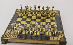 ancient chess set greek warrior chess set 20x20cm bronze chess board