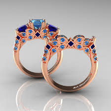 solitaire stone rings images Classic 14k rose gold three stone princess blue topaz blue jpg