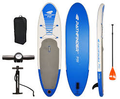 black friday paddle board deals amazon com pathfinder inflatable sup stand up paddleboard set 9