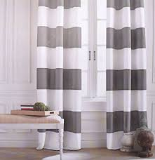 Curtains White And Grey Hilfiger Cabana Wide Stripes Curtains 2 Panels