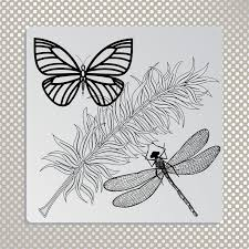 organic dragonfly butterfly and feather stock vector
