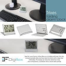 trixes digital lcd desk clock temperature travel alarm amazon co