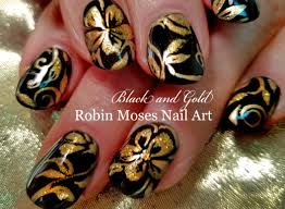 diy flower nail art black and gold floral nails design tutorial