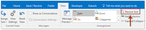 how to print emails in chronological reverse order in outlook