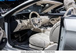 Steering Wheel Upholstery Car Inside Interior Prestige Modern Car Stock Photo 374122891