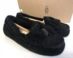 ugg womens house shoes ugg australia ansley twinface bow black fur slippers 1019758 house