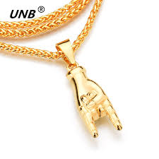 necklace rock images Unb new gold color mano cornuto pendant necklace boxing chain rock jpg