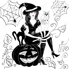 Drawing Of Halloween Witch With An Owl On Her Arm On The Eve Of Halloween Royalty Free