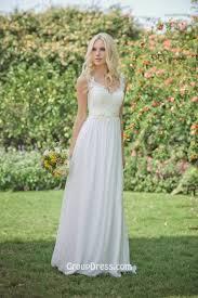 Elegant Wedding Gowns A Line Sleeveless Lace Chiffon Elegant Wedding Dress Shoulder