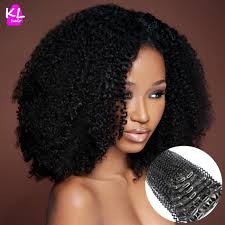 Human Hair Extensions With Clips by Afro Curly Clip In Hair Extensions